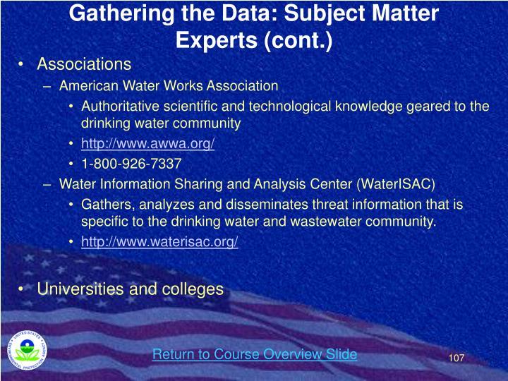 Gathering the Data: Subject Matter