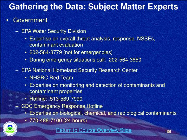 Gathering the Data: Subject Matter Experts