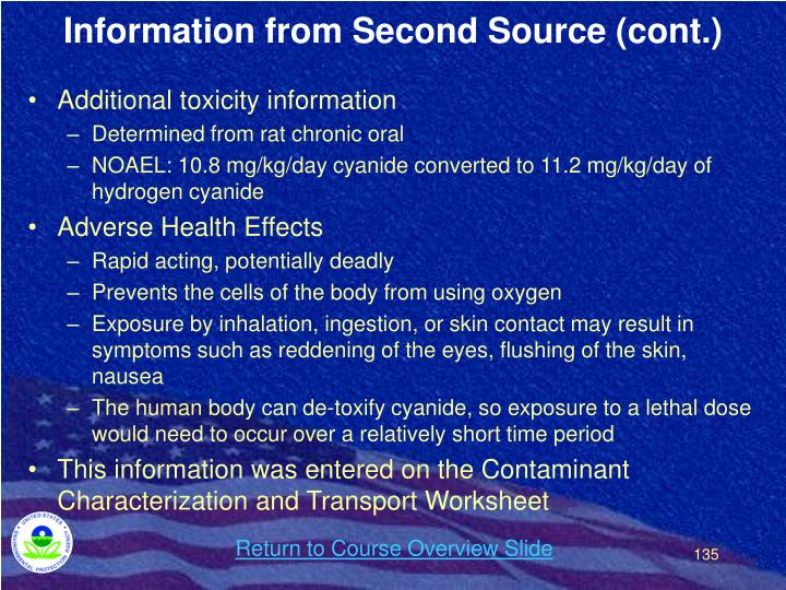 Information from Second Source (cont.)