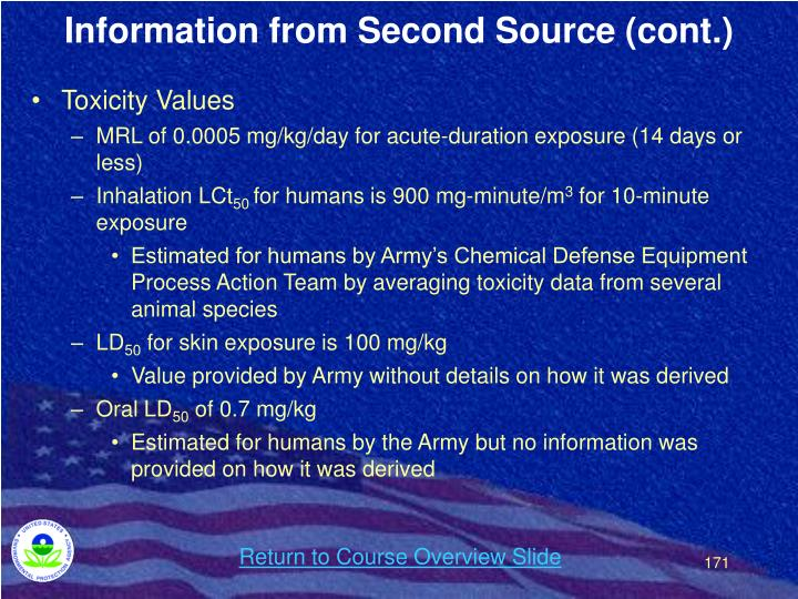 Information from Second Source