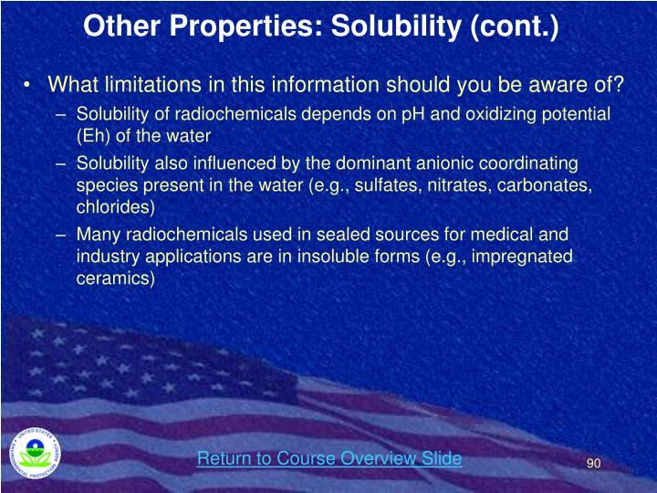 Other Properties: Solubility (cont.)