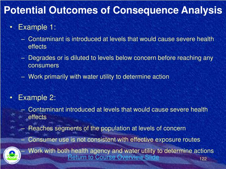 Potential Outcomes of Consequence Analysis