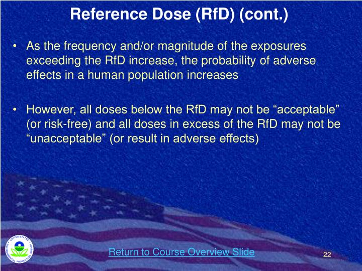 Reference Dose (RfD) (cont.)