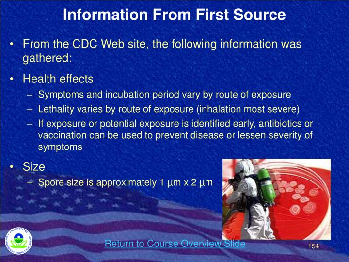 Information From First Source
