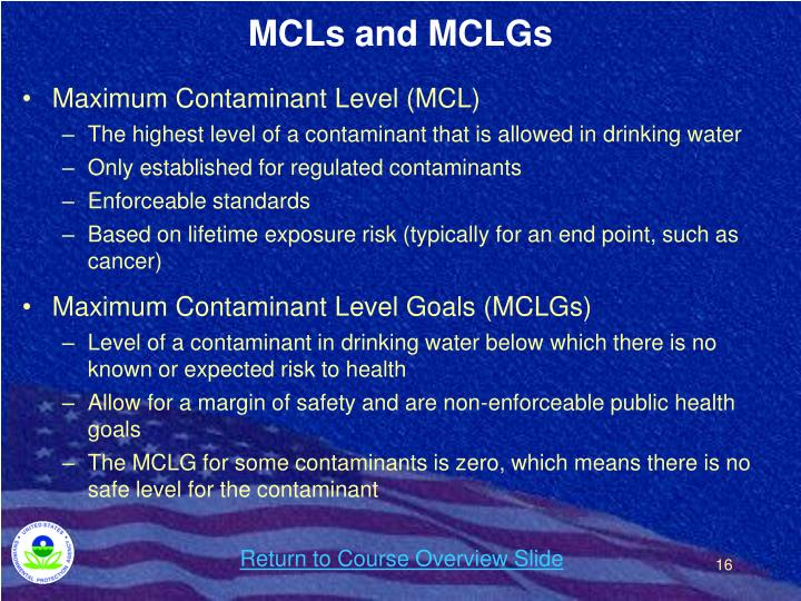 MCLs and MCLGs