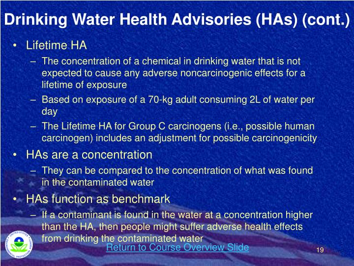 Drinking Water Health Advisories (HAs) (cont.)