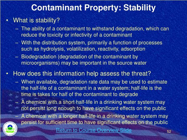 Contaminant Property: Stability