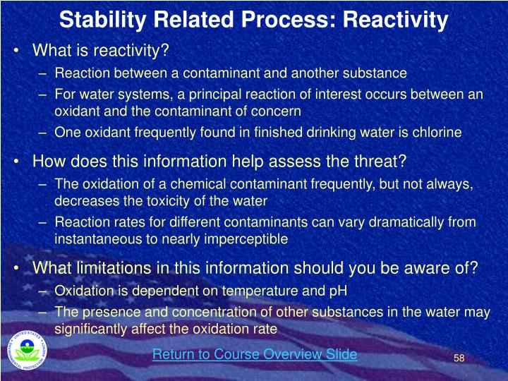 Stability Related Process: Reactivity