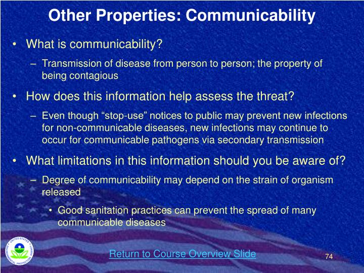 Other Properties: Communicability