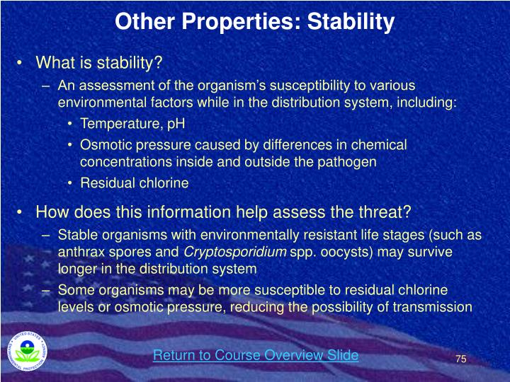 Other Properties: Stability