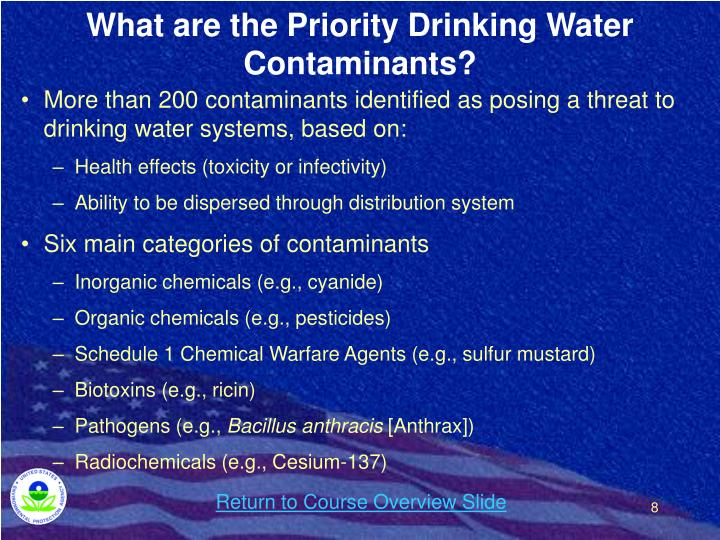What are the Priority Drinking Water Contaminants?