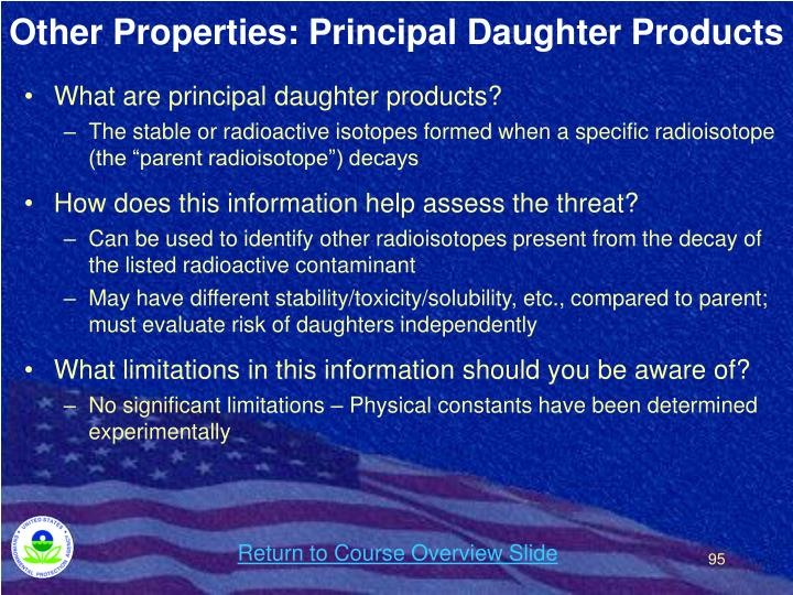 Other Properties: Principal Daughter Products