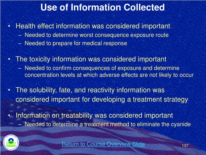 Use of Information Collected