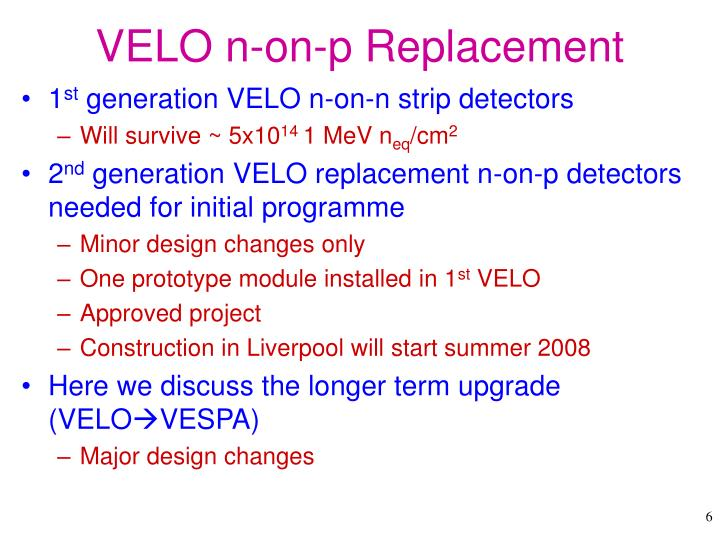 VELO n-on-p Replacement