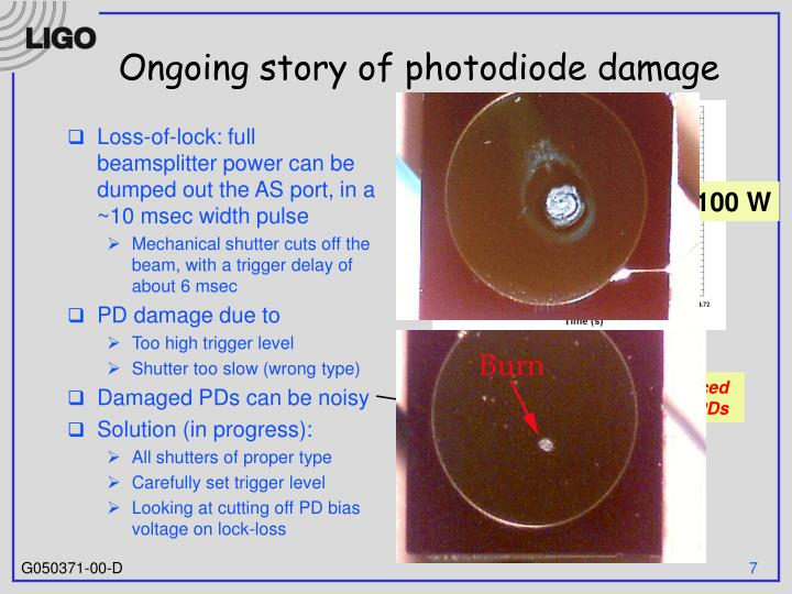 Ongoing story of photodiode damage