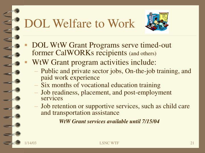 DOL Welfare to Work