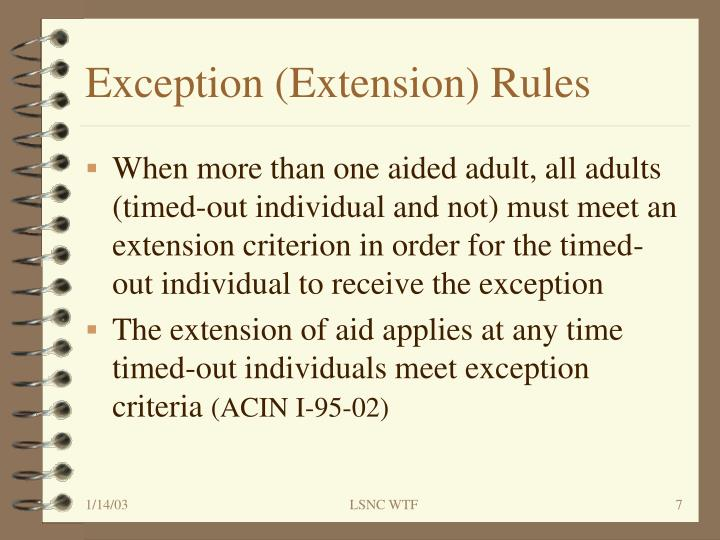 Exception (Extension) Rules
