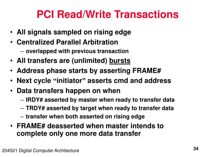 PCI Read/Write Transactions