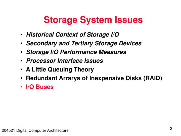 Storage system issues