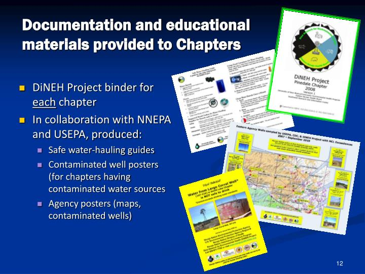 Documentation and educational materials provided to Chapters
