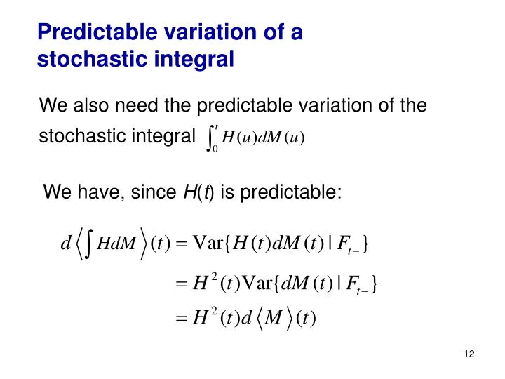 Predictable variation of a stochastic integral