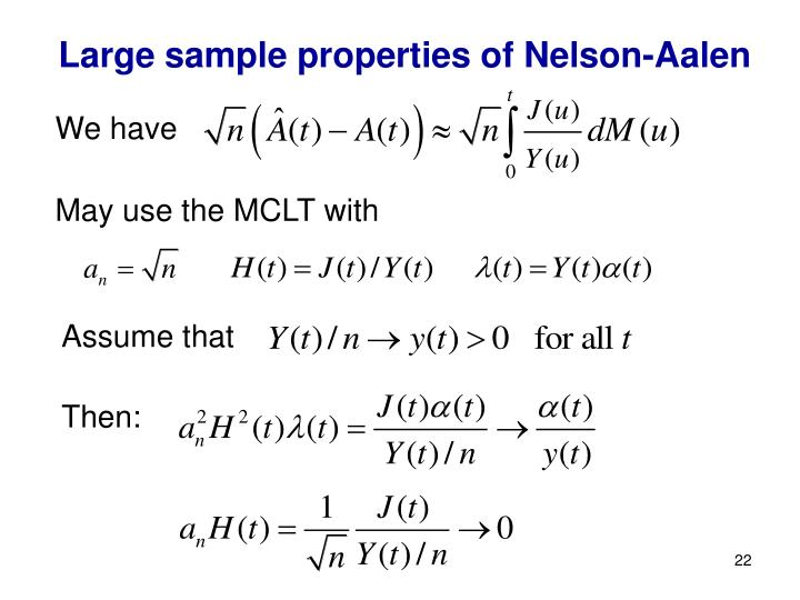 Large sample properties of Nelson-Aalen