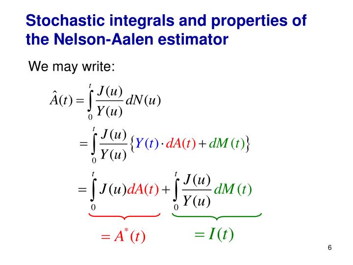 Stochastic integrals and properties of the Nelson-Aalen estimator