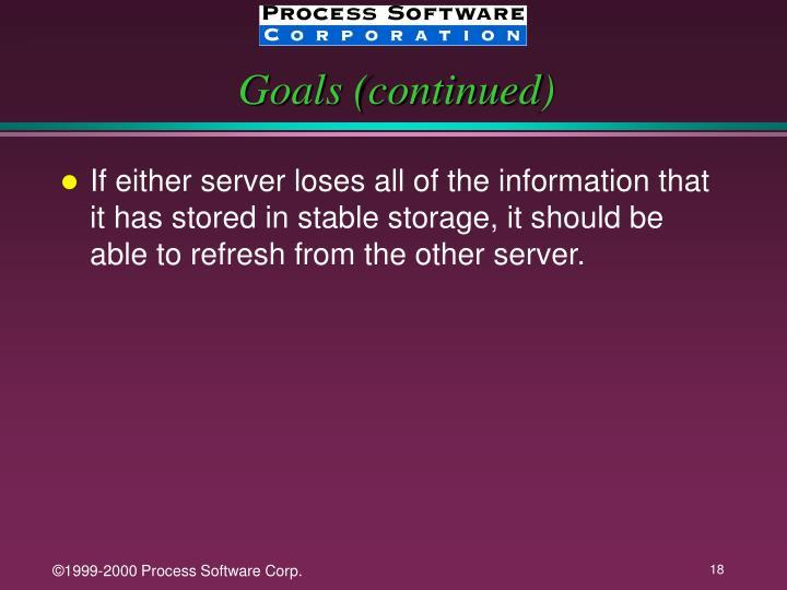 Goals (continued)