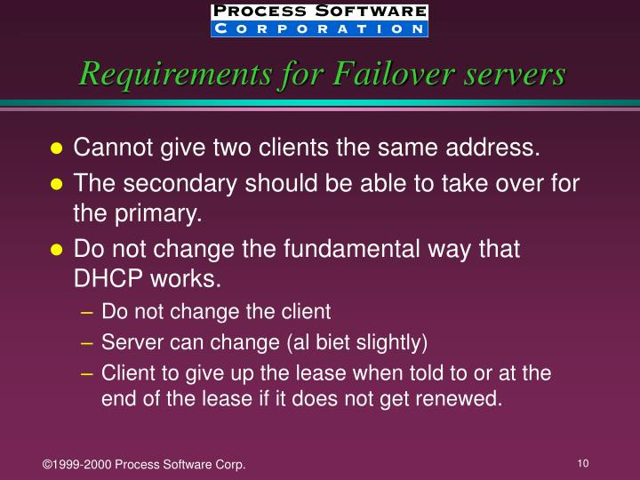 Requirements for Failover servers