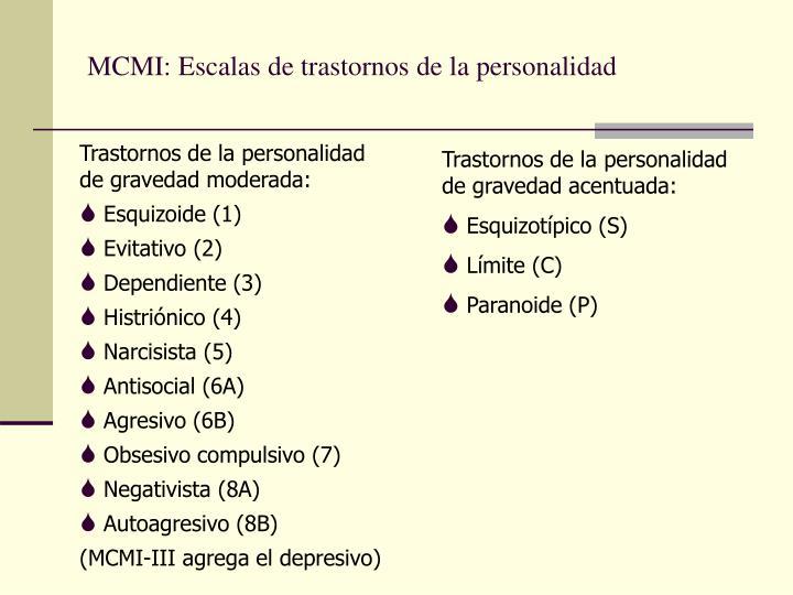 MCMI: Escalas de trastornos de la personalidad