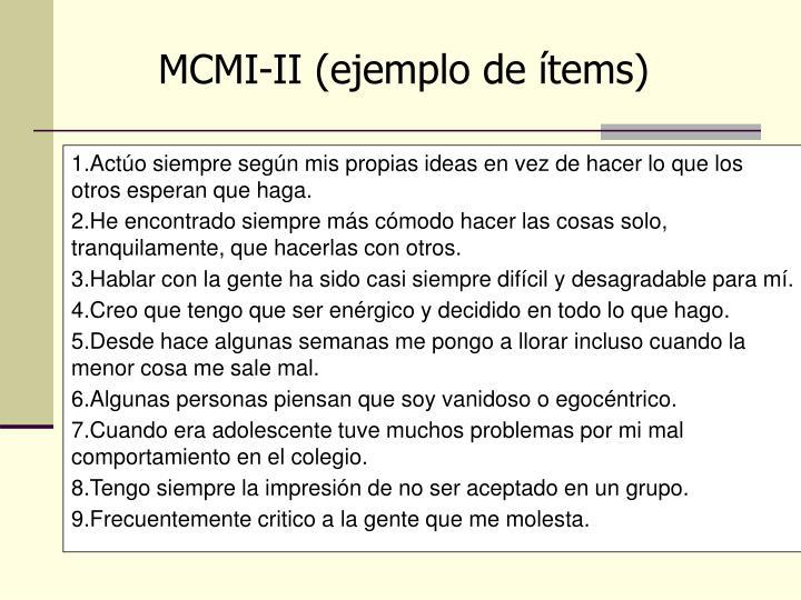 MCMI-II (ejemplo de ítems)