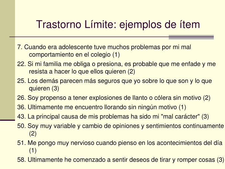 Trastorno Límite: ejemplos de ítem