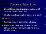 comment effect sizes