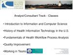analyst consultant track classes