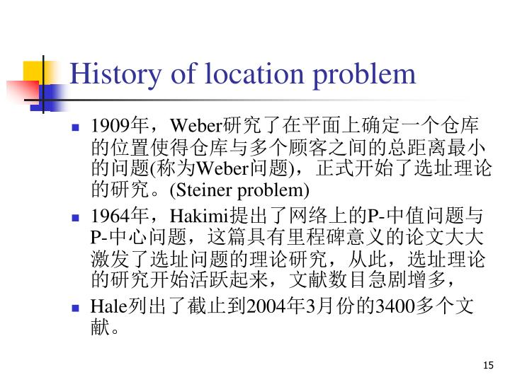 History of location problem