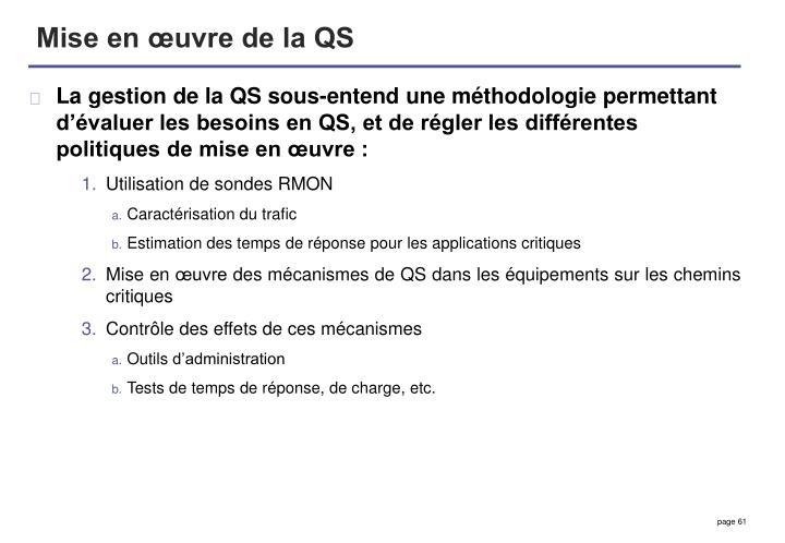 Mise en œuvre de la QS