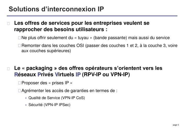 Solutions d'interconnexion IP
