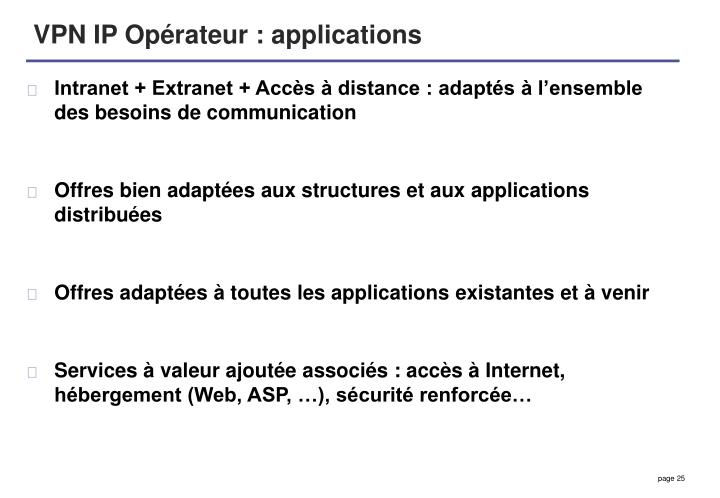 VPN IP Opérateur : applications