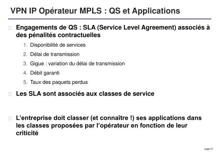 VPN IP Opérateur MPLS : QS et Applications
