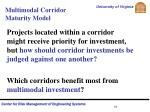 multimodal corridor maturity model