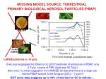 missing model source terrestrial primary biological aerosol particles pbap