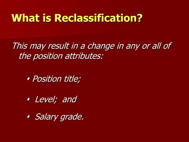 What is reclassification1