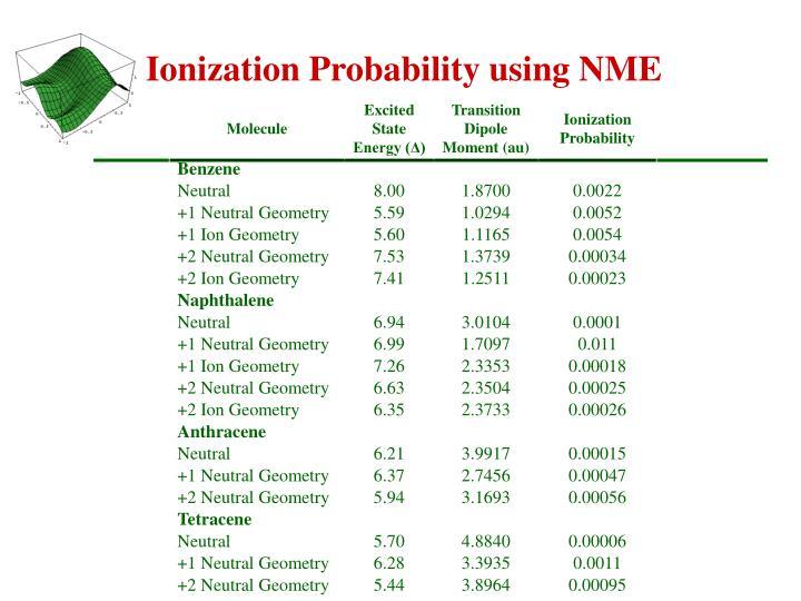Ionization Probability using NME