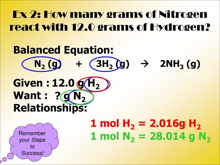 Ex 2: How many grams of Nitrogen react with 12.0 grams of Hydrogen?