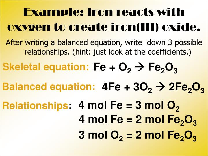 Example: Iron reacts with oxygen to create iron(III) oxide.