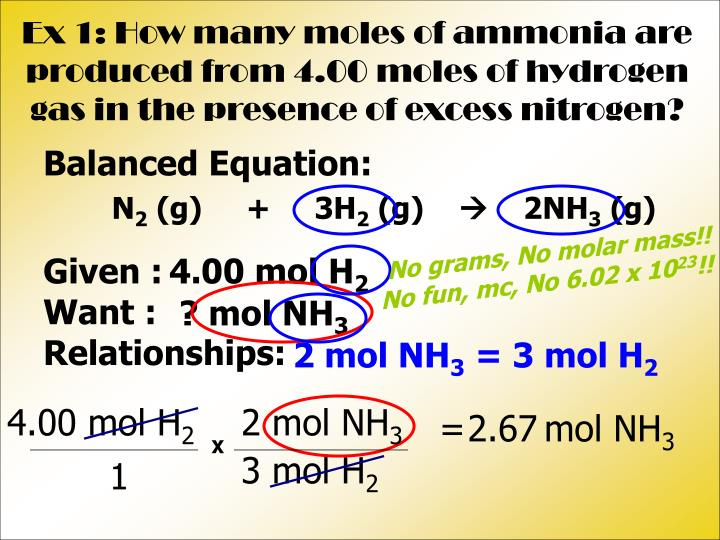 Ex 1: How many moles of ammonia are produced from 4.00 moles of hydrogen gas in the presence of excess nitrogen?