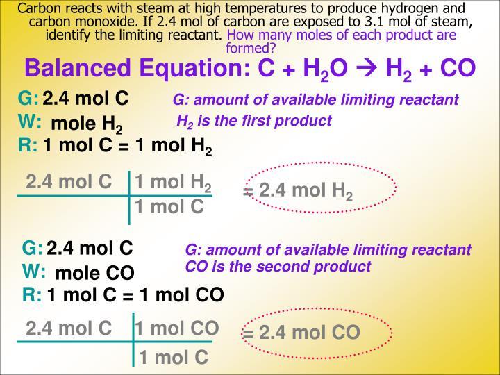 Balanced Equation: C + H