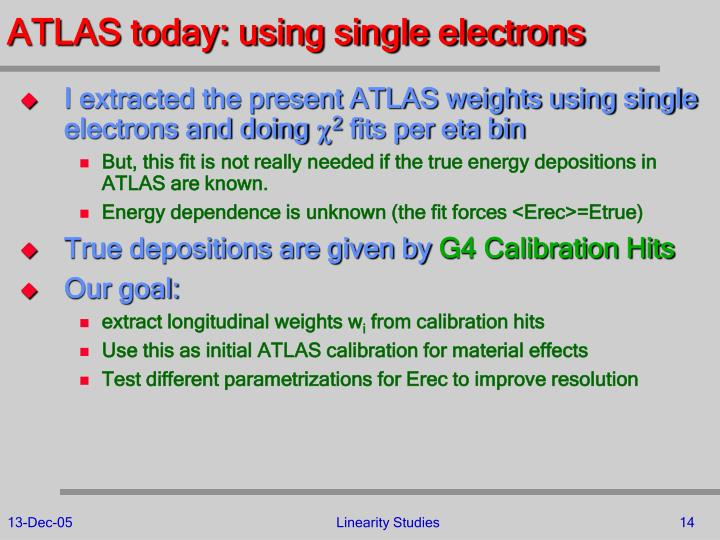 ATLAS today: using single electrons