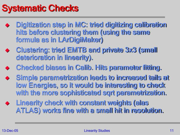 Systematic Checks