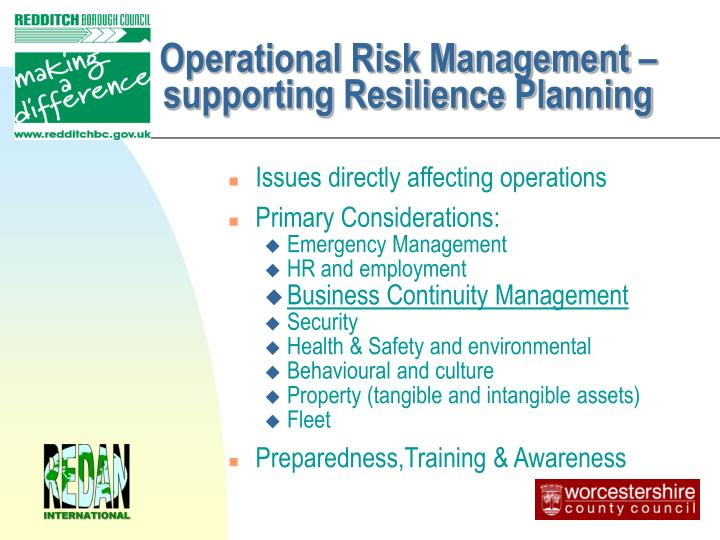 Operational Risk Management – supporting Resilience Planning